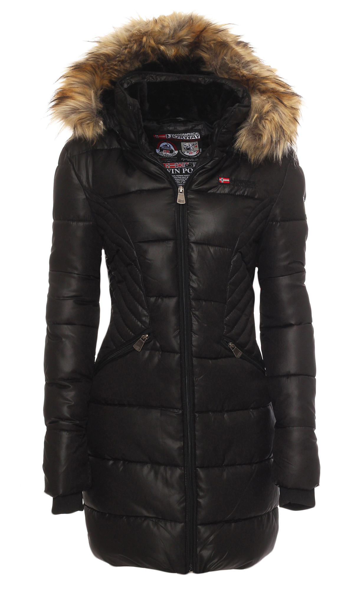 geographical norway ladies winter jacket parka long coat jacket quilted ebay. Black Bedroom Furniture Sets. Home Design Ideas