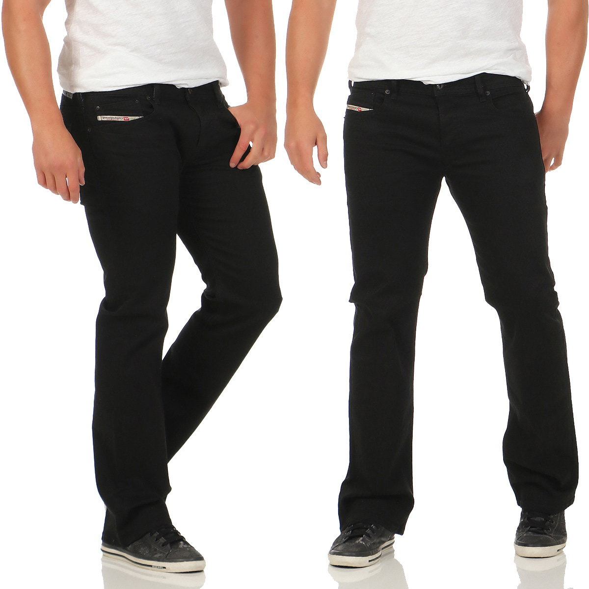diesel herren jeans zatiny 0r84a boot cut stretch hose regular bootcut schwarz ebay. Black Bedroom Furniture Sets. Home Design Ideas