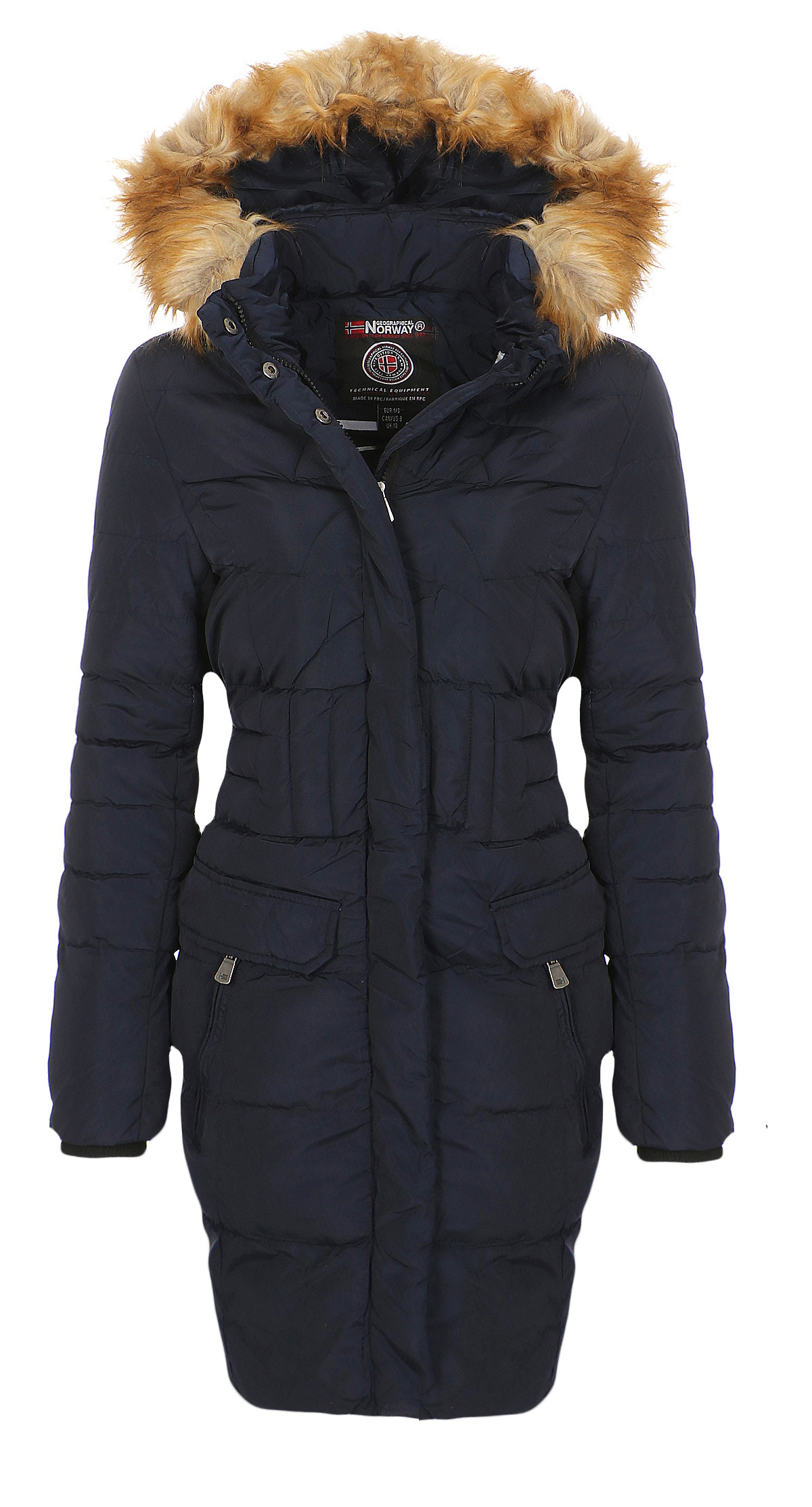 Details about Geographical Norway Women's Winter Jacket Coat Long Padded Winter Jacket Parka